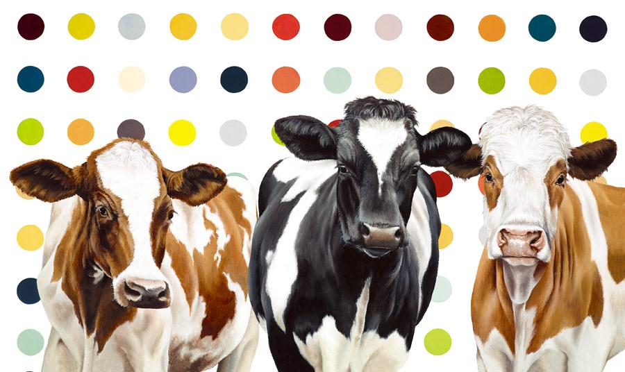 Damien's Herd by Hayley Goodhead - Hand Finished Limited Edition on Canvas sized 34x20 inches. Available from Whitewall Galleries